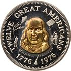 Benjamin Franklin Commemorative Silver & Gold Medal - Letcher Mint (.77 ASW and .01 Gold)