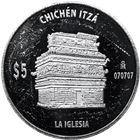 Mexico 5 Peso Chichen Itza 1 oz Proof Silver Coin (abrasions)