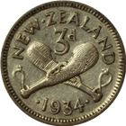 1933-1946 New Zealand 3 Pence Silver Coin