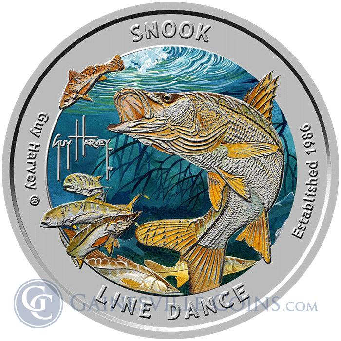 Image Showcase for 2016 Guy Harvey© Colorized 1 oz Proof Silver Round - Snook Line Dance (Mintage of Only 1,500!)