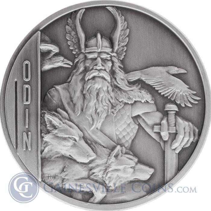 Image Showcase for Odin 2 oz Double-Sided Ultra High Relief Silver Coin $5 Niue - Antique Finish