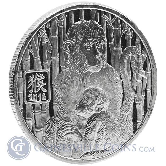 Image Showcase for 2016 1 oz Silver Year of the Monkey Round (.999 Pure Silver)