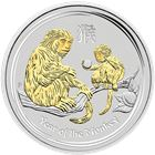 2016 Perth Mint 1 oz Silver Monkey Gilded