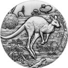2016 2 oz Antiqued High Relief Silver Kangaroo from the Perth Mint