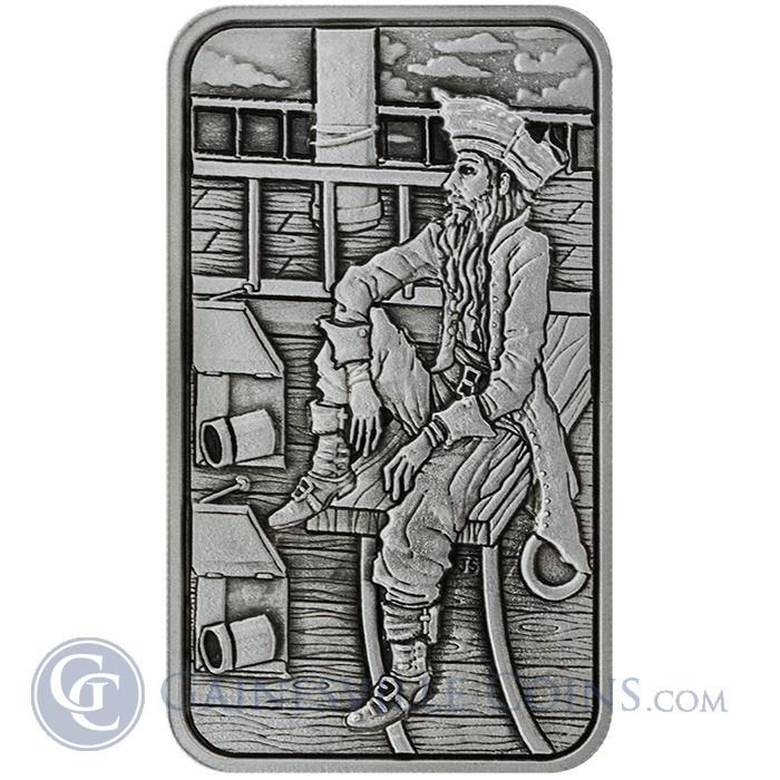 Image Showcase for 5 oz Buccaneer Ultra High Relief Silver Bar Antique Finish