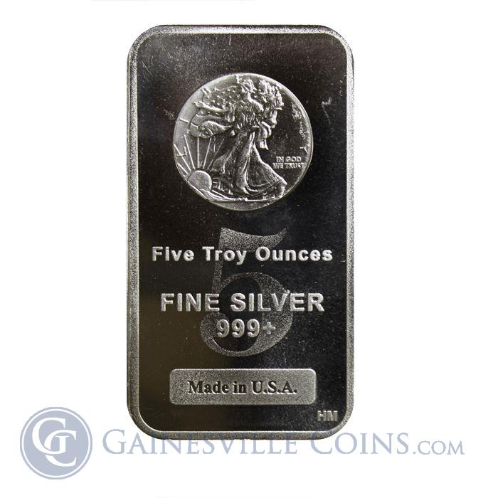 Image Showcase for 5 oz Walking Liberty Silver Bar 999 Pure | Made In The USA