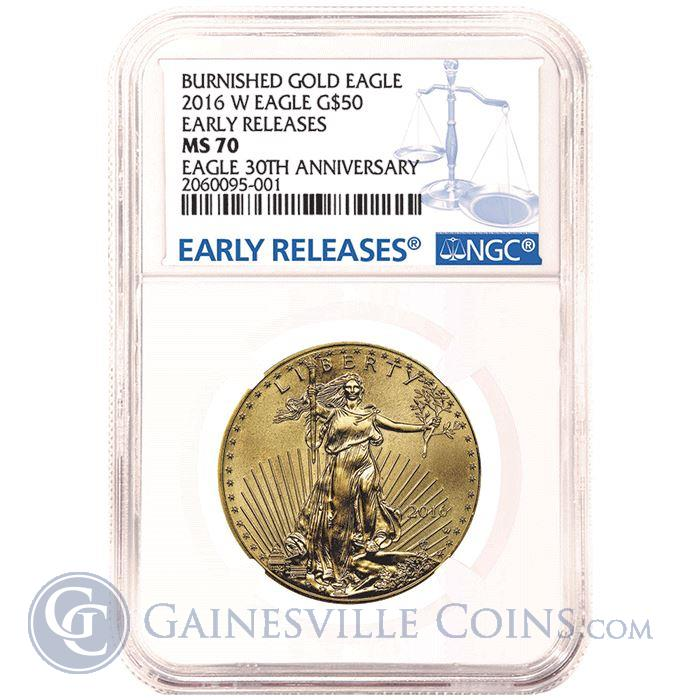 Image Showcase for 2016 W $50 Burnished American Gold Eagle NGC MS70 - Early Releases