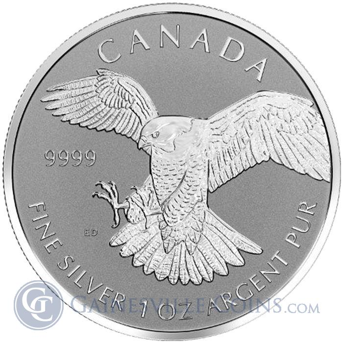 "Image Showcase for 2016 Canadian Silver Peregrine Falcon 1 oz Coin ""Reverse Proof"" - Birds Of Prey Series"