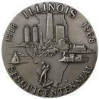 1968 Illinois Sesquicentennial 4 oz Silver Medal (.999 Pure)