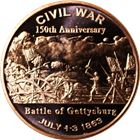 150th Anniversary Battle Of Gettysburg Civil War Copper Round - 1 AVDP Ounce (.999 Pure)