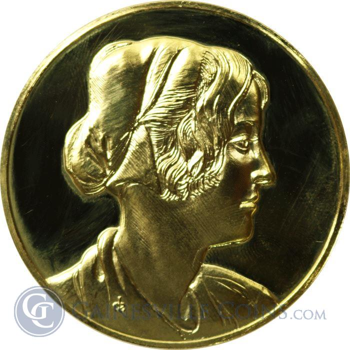 Image Showcase for Leonardo Da Vinci Portrait Of A Girl With A Cap Proof Sterling Silver Round Gold Gilded (1.97 oz ASW)
