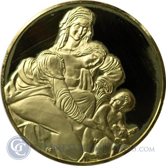 Image Showcase for Leonardo Da Vinci The Virgin And Child Proof Sterling Silver Round Gold Gilded (1.98 oz ASW)