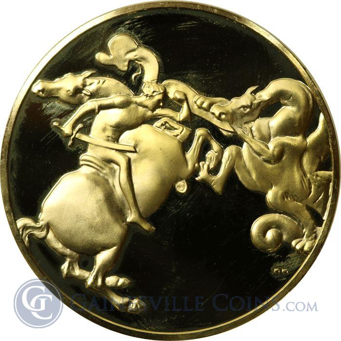 Image Showcase for Leonardo Da Vinci A Dragon Fight Proof Sterling Silver Round Gold Gilded (1.97 oz ASW)
