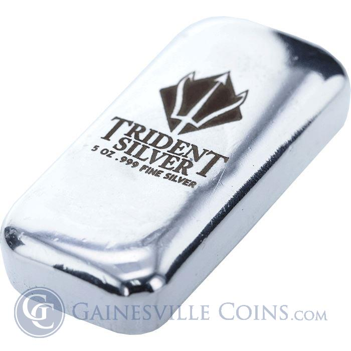 5 Oz Poured Silver Bar Trident Silver 999 Pure