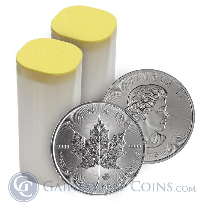 Image Showcase for 2017 1 oz Canadian Silver Maple Leaf - Roll Of 25 Coins (BU)