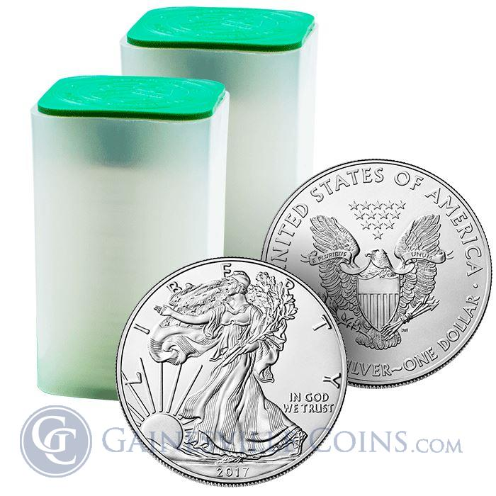 Image Showcase for 2017 1 oz American Silver Eagle - Roll of 20 Coins (BU)