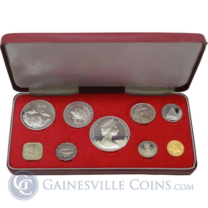 Image Showcase for 1974 Bahamas 9-Coin Proof Set - With Box