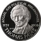 Thomas Paine Social And Political Philosopher Proof Sterling Silver Round (.96 oz ASW)