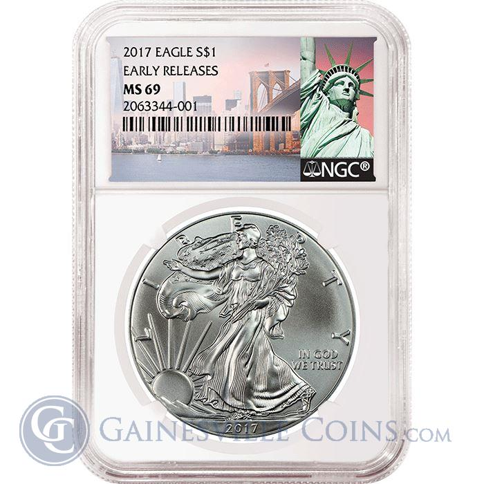 Image Showcase for 2017 American Silver Eagle NGC MS69 Early Releases - Statue of Liberty Tag