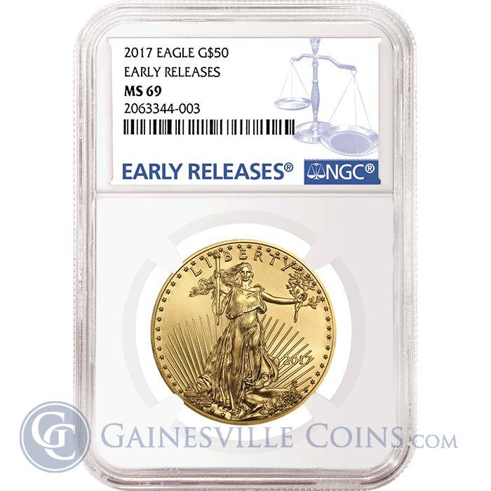 Image Showcase for 2017 $50 American Gold Eagle 1 oz NGC MS69 Early Releases
