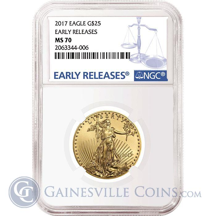 Image Showcase for 2017 $25 American Gold Eagle NGC MS70 Early Releases