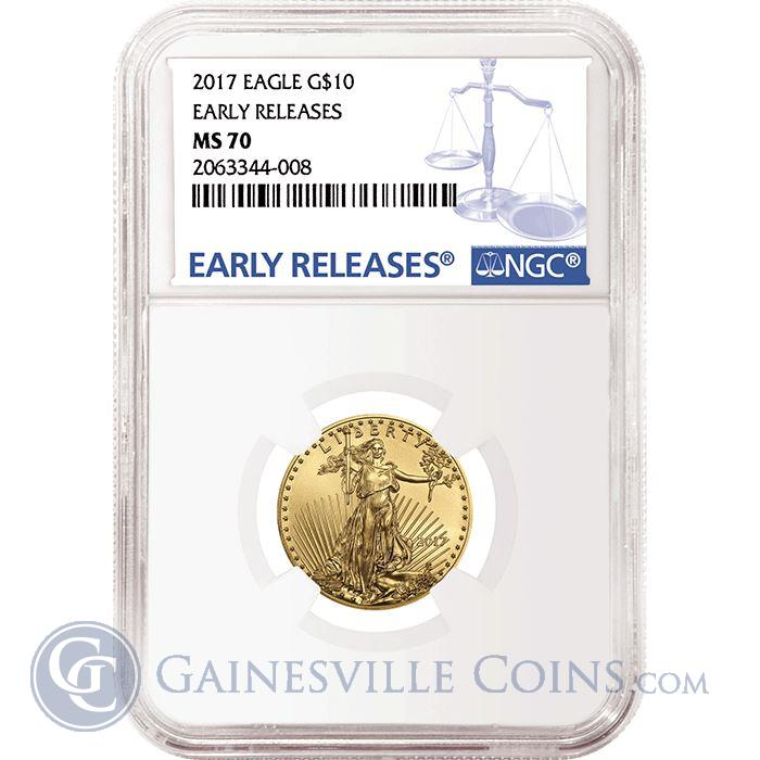 Image Showcase for 2017 $10 American Gold Eagle NGC MS70 Early Releases