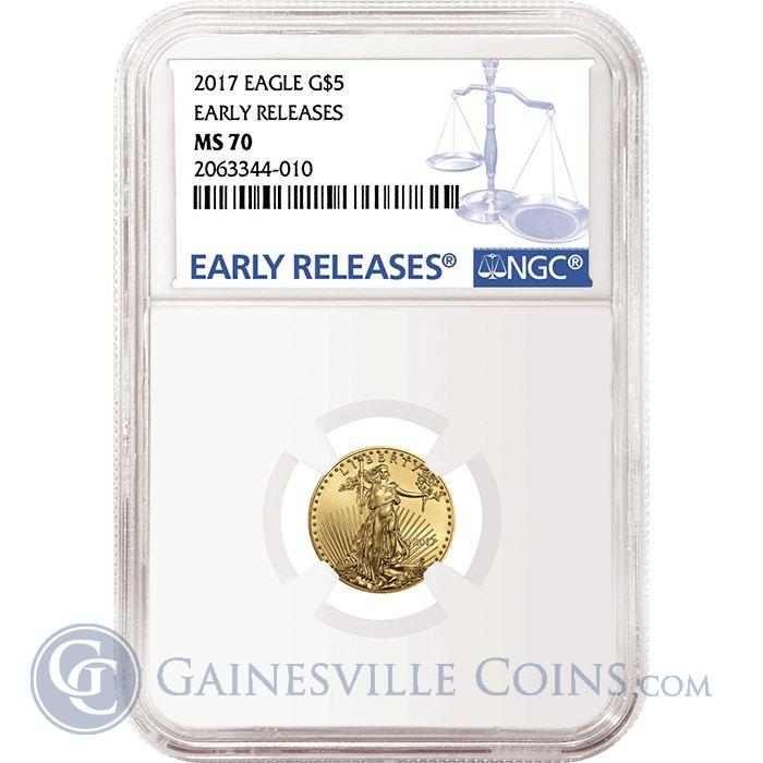 Image Showcase for 2017 $5 American Gold Eagle NGC MS70 Early Releases