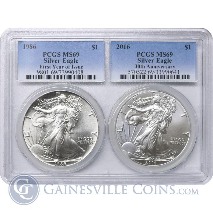 Image Showcase for 1986/2016 American Silver Eagle 2PC Multi Holder Set PCGS MS69