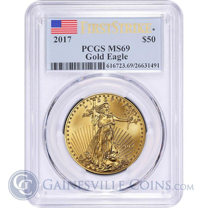 Image Showcase for 2017 $50 American Gold Eagle 1 oz PCGS MS69 First Strike