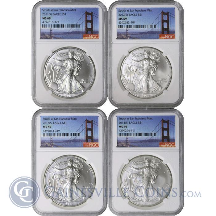 Image Showcase for 2011(S) - 2014(S) American Silver Eagle 4 Coin Set NGC MS69 - Struck At San Francisco Mint