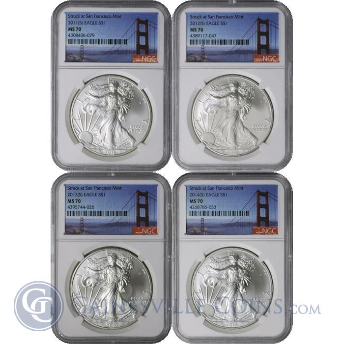 Image Showcase for 2011(S) - 2014(S) American Silver Eagle 4 Coin Set NGC MS70 - Struck At San Francisco Mint
