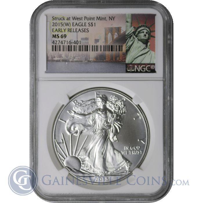 Image Showcase for 2015 W American Silver Eagle NGC MS69 Early Release - Statue Of Liberty