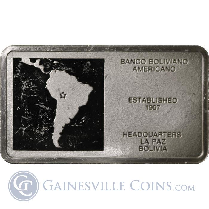 Image Showcase for Banco Boliviano Americano Bolivia 1000 Grains Proof Sterling Silver Bar (1.93 oz ASW)