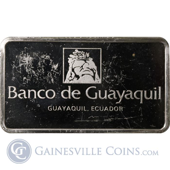 Image Showcase for Banco De Guayaquil 1000 Grains Proof Sterling Silver Bar (1.93 oz ASW)