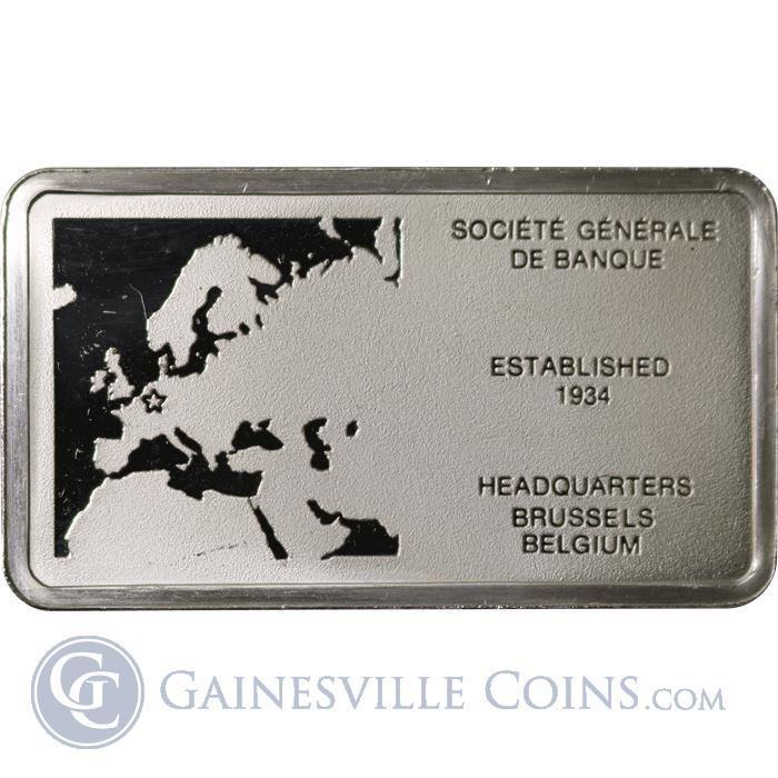 Image Showcase for Societe Generale De Banque 1000 Grains Proof Sterling Silver Bar (1.93 oz ASW)