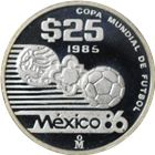 1985 Mexico 1/4 oz Proof Silver World Cup 25 Peso Coin