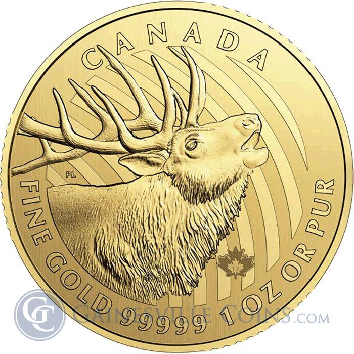 "Image Showcase for 2017 1 oz 99.999% Pure Gold ""Call of the Wild"" Elk Royal Canadian Mint"