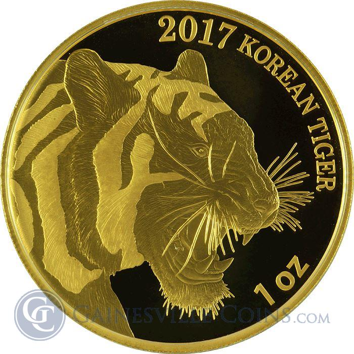 Image Showcase for 2017 South Korea 1 oz Gold Tiger Bullion Medallion - KOMSCO (In Presentation Box)