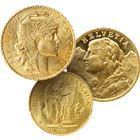 20 Franc Gold Coin Swiss or French (Angel, Rooster, or Helvetia) - Random Date and Desigm (.1867 AGW)