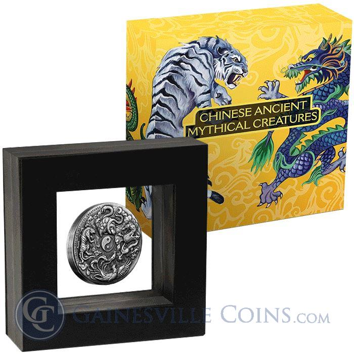 Image Showcase for 2016 Perth Mint Ancient Chinese Mythical Creatures High Relief 2 Oz Silver - Tuvalu $2