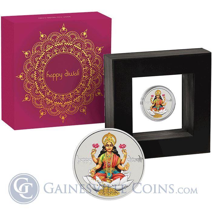 Image Showcase for 2017 Diwali 1 oz Silver Coin - With Box and COA