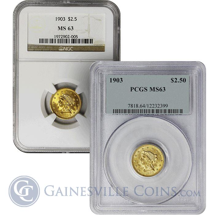 Image Showcase for $2.5 Liberty Gold Quarter Eagle NGC/PCGS MS63 - Random Date