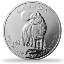 Silver Canadian Wolf Coin