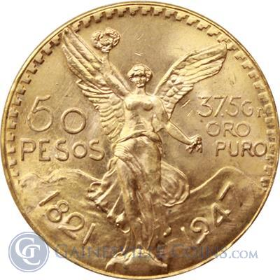 Gold Mexican 50 Pesos Centenarios (1.2057 oz Gold).
