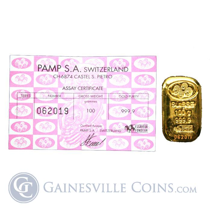Image Showcase for 100 gram (3.215 oz) Gold Bar PAMP Suisse 999.9 with Assay Certificate
