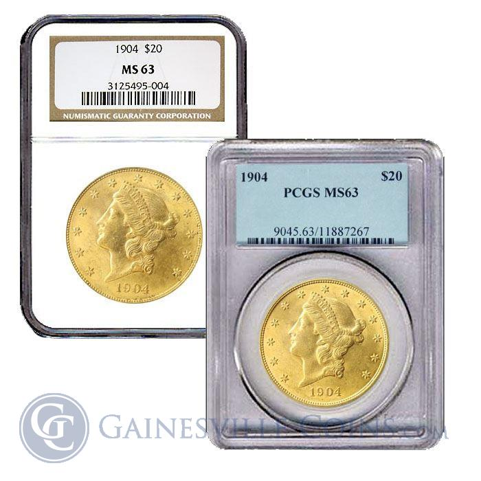 Image Showcase for $20 Gold Liberty Double Eagle (NGC/PCGS MS63) Random Date