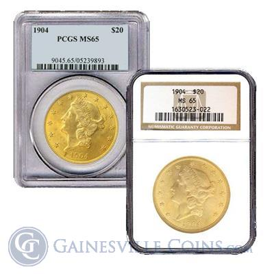 $20 Gold Liberty Double Eagle - (NGC/PCGS MS65) - Random Date