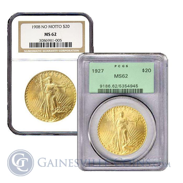Image Showcase for $20 Saint-Gaudens Gold Double Eagle (NGC/PCGS MS-62) - Random Date