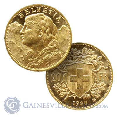 Gold Swiss 20 Franc Helvetia - (.1867 oz of Gold)