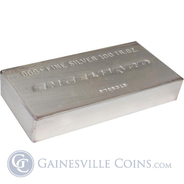 Image Showcase for 100 ounce Silver Bar .999 Fine (Engelhard)